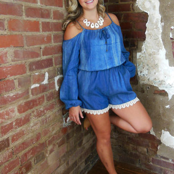 Umgee Blue Denim Romper