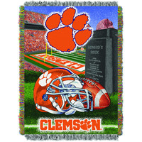 """Clemson College """"""""Home Field Advantage"""""""" 48x60 Tapestry Throw"""