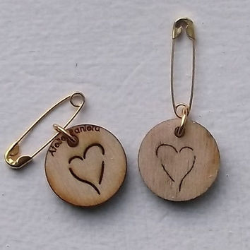 Wooden Tiny Brooch with Heart, Lasercut