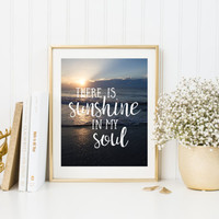Digital download quote Beach wall art quotes Sunshine printable quotes Inspiring wall art, beach printable ocean quotes, sunshine in my soul