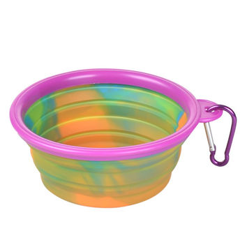 Camouflage Silicone Folding Dog Bowl for Food and Drinking Water