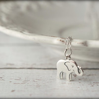 Small Elephant Necklace in Sterling Silver