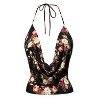LE3NO Womens Lightweight Sexy Low Cut Neck Floral Print Halter Top with Stretch