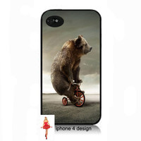 UniqueBear On Tricycle Design Iphone 4/4s case, Iphone case, Iphone 4s case, Iphone 4 cover, i phone case, i phone 4s case