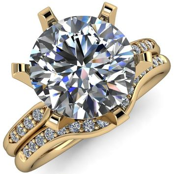 Olivia Round Moissanite 6 Prong Airline Crown Shoulder Setting Engagement Ring
