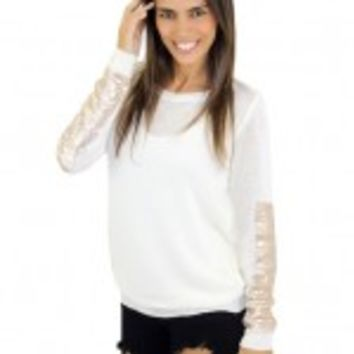 Sheer Cream Top With Sequins