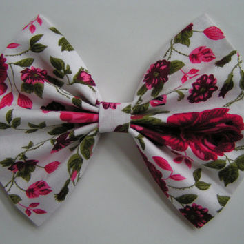 Big floral hair bows, hairbows, large hair bow, flower bow, hair bows for women, fabric hair bow, cotton