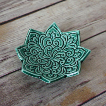Emerald Green Dish - Bohemian Star Dish - Boho Pattern - Stamped Dish - Green Ring Dish - Green Jewelry Bowl - Emerald Trinket Dish