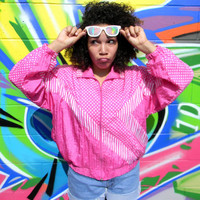 Vintage 90s Windbreaker Jacket - 90's HOT Pink and White Women's Track Suit Top, Womens Hip Hop Party Zip Up Bomber Size Large L