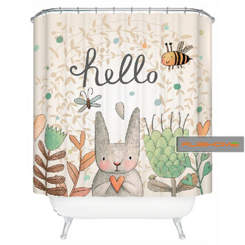 RUBI America style lovely rabbit shower curtain for bathroom 100% polyester waterproof 180x200cm(if order,give you one mat)