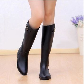 High Heel Knee Black Rubber Waterproof Rain Boots Shoes