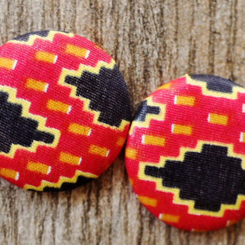 Fabric Earrings,Button Earrings, Ankara Earrings, Fabric Button, Africian Fabric Earrings, African Fabric Earrings, Large Button Earrings