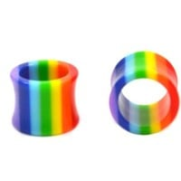Pair (2) Hollow Rainbow Stripes Ear Plugs Lightweight Acrylic Double Flared Tunnels - 0G 8MM