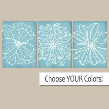 Light Blue BATHROOM WALL Art, CANVAS or Prints, Blue Bedroom Pictures, Dahlia Flower Outline, Bathroom Decor, Set of 3 Home Decor Wall Decor