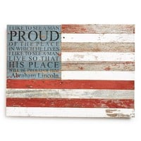 Second Nature By Hand American Flag Repurposed Wood Wall Art