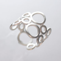 Bubble Dance Ring, sterling silver circle ring