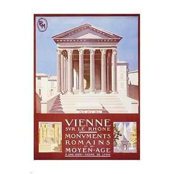 VIENNE FRANCE vintage train travel poster CLASSIC ARCHITECTURE prized 24X36