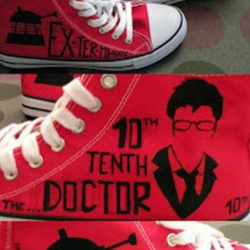 DCKL9 Doctor Who shoes, converse style. David Tennant, 10 Doctor, Dalek or Weeping Angel.