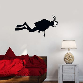 Vinyl Decal Diver Extreme Water Sports Bathroom Decor Wall Stickers Mural Unique Gift (ig2688)