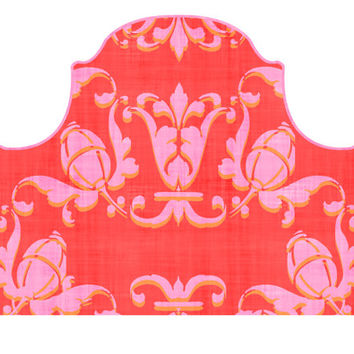 Headboard Wall Decal  - Adornaments - Pink and Orange on Red - Twin  - Lite version