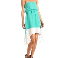 COLOR BLOCK CHIFFON HI-LOW DRESS