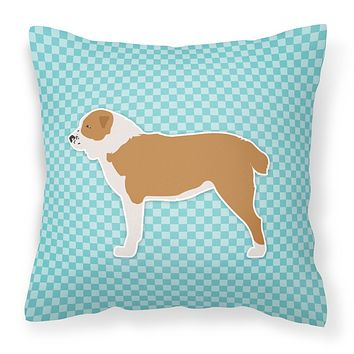 Central Asian Shepherd Dog Checkerboard Blue Fabric Decorative Pillow BB3728PW1414