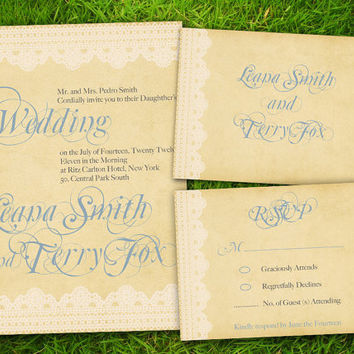 Vintage Lace Classic Grayish Blue Formal Customizable Wedding Invitation Card - DIY Printable