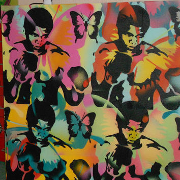custom muhammad ali painting,float like a butterfly,stencil art,urban art,abstract art,pop art on canvas,boxing,champion,butterflies,large