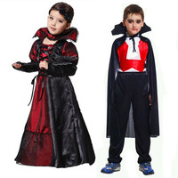 Halloween Girls Costumes Vampire Queen Children Costume Halloween Kids Black Lace Party Dress Necklace Set Boy Couple Clothing