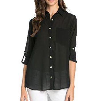 My Yuccie Womens Solid Long Sleeve Button up Chiffon Blouse Shirt Tops RON1029
