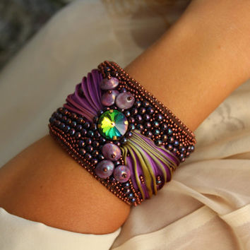 Shibori silk cuff bracelet Bead Embroidery Cuff Shibori Silk Ribbon Shibori Bracelet Cuff Unique multicolored boho bracelet Thousand sunsets
