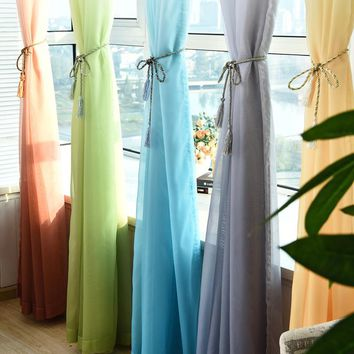 5 Gradient color Cheap Solid Tulle Window Curtains for Kitchen Door Living Room Bedroom Sheer Voile Curtain Organza Yarn Curtain