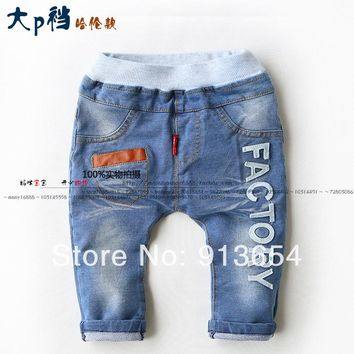 Free shipping new 2014 spring autumn boys jeans kids clothes baby boy casual Harem Pants child letter wash Denim pants