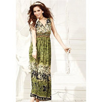 Army Green Printed Leaves High-Waist Pleated Dress
