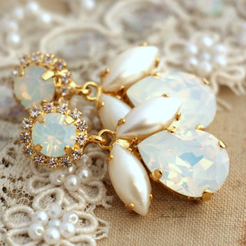 White Opal and Faux Pearls Swarovski Chandelier White and Gold bridal earrings, rhinestone jewelry- 14k Gold plated gold Wedding jewelry.