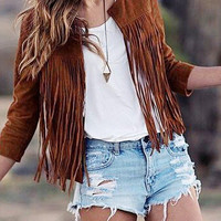 Brown Open Front Suede Jacket with Tassel Details