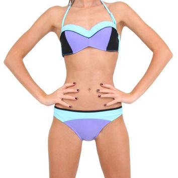 Lake Blue Halter Triangle Bikini