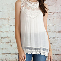 Lace & Crochet Yoke Top - Ivory (Ladies)