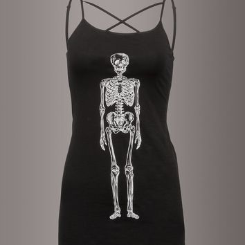 Skeleton Caged Look Strappy Cami Tank Top