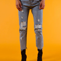 Destroyed Raw Hem Denim Jeans | Blue
