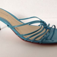 Ann Taylor Shoes 6 Womens Size 6M Heels Blue Slides Strappy Leather $88