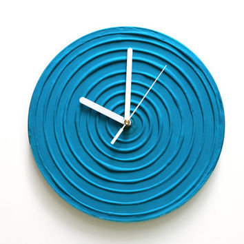 BLUE WALL CLOCK, Blue Clock, Blue Home Decor, Blue Wall Decor, Modern Wall Clock, Unique Wall Clock
