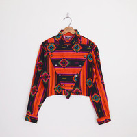 Southwestern Shirt Southwest Shirt South Western Shirt Orange Tribal Shirt Southwest Tribal Print Shirt Crop Top 80s Shirt M Medium L Large