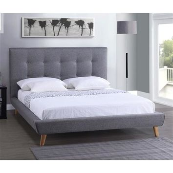 """Rhett"" Mid-Century Modern ""MCM"" Platform Bed Frame with Grey Upholstered Button Tufted Headboard"