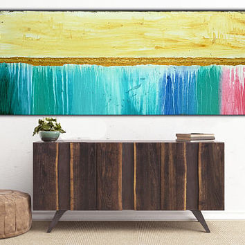 Large Abstract Gold  Art on Canvas , Blue Pink  , Modern Wall Art , Acrylic painting , Home Decor 59x24 inch, Free Shipping !