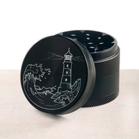 Laser engraved herb grinder | Rogue wave lighthouse grinder by Topboro