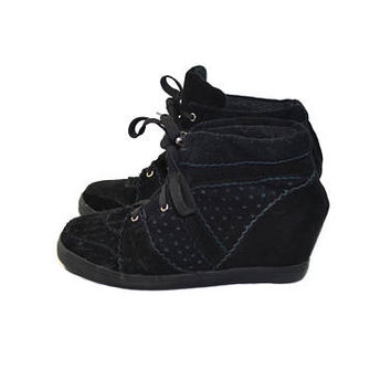 Vintage Black Suede Wedge Shoes Black Wedge Sneakers Suede Sneakers Suede Tennis Shoes Vintage Wedge Shoes