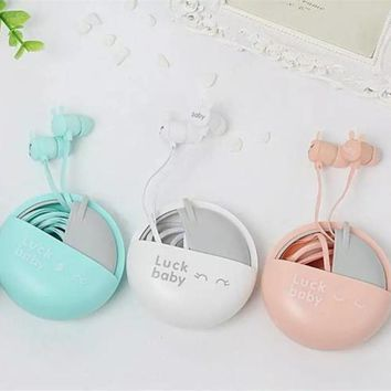 Cute Rabbit Macarons Stereo Earphones with Mic 3.5mm in-ear Earbuds with Earphone Case Bag for Xiaomi for Mobile Phone Gifts