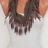 Light Brown Scarf Shawl Headband - Cowl with Lace Edge--