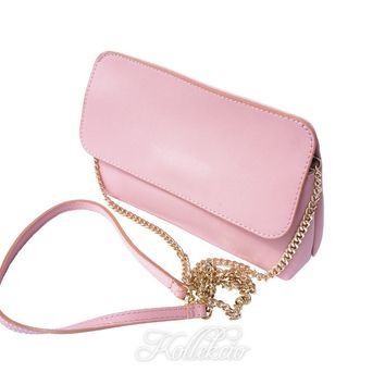 Italian Pink Genuine Leather Clutch with Removable Shoulder Strap